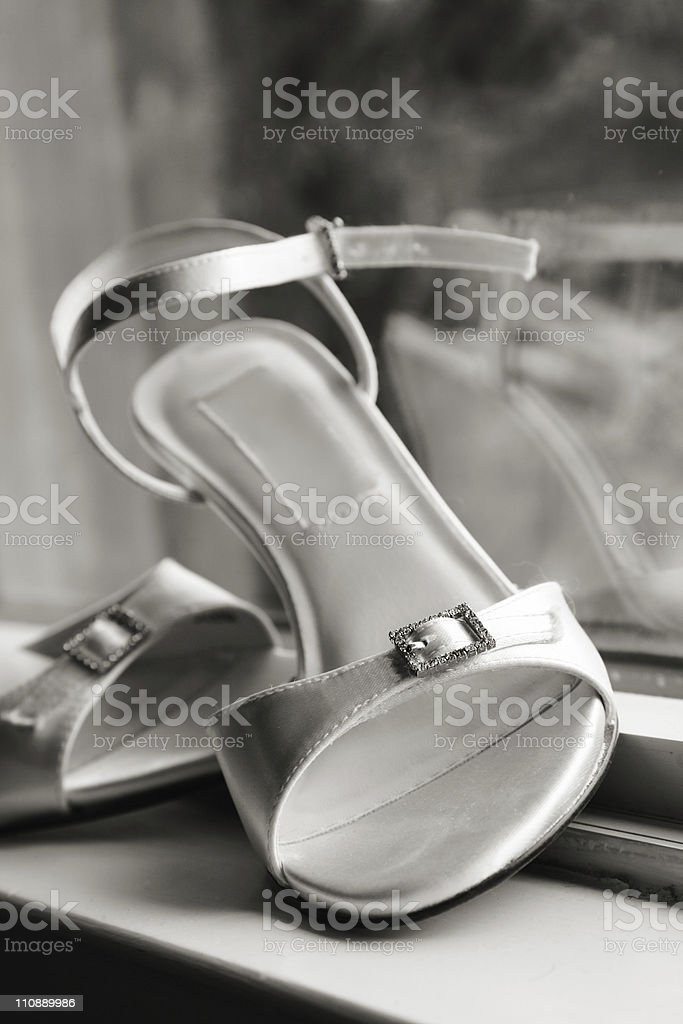 Bride's Wedding Shoes royalty-free stock photo