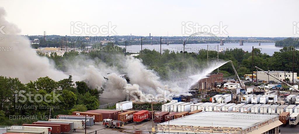 Bridesburg PhiladelphiaTire Fire stock photo