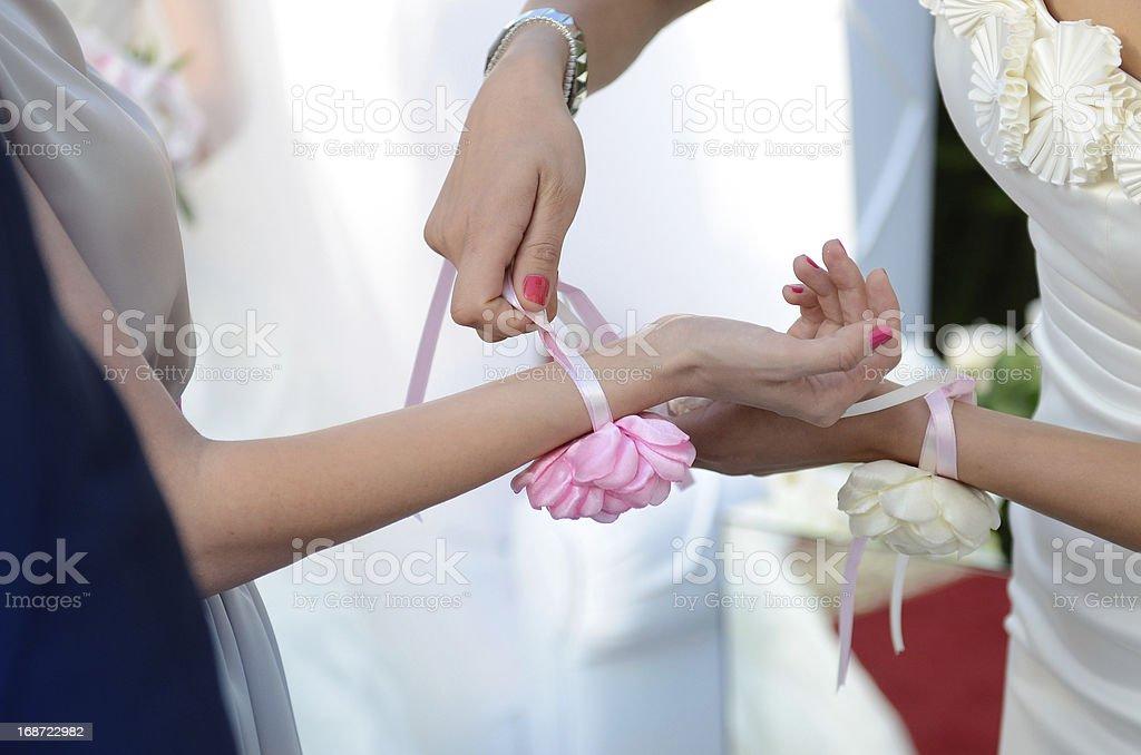 Bridesmaid help stock photo