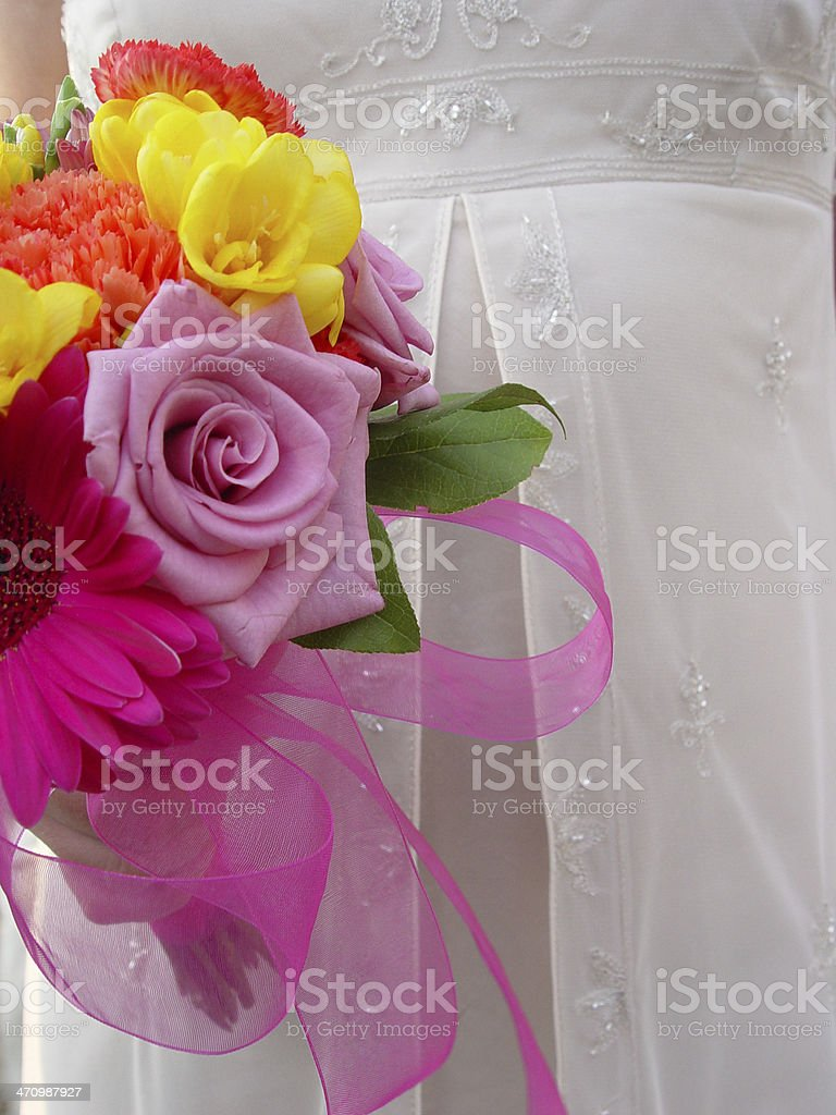 Bridesmaid with bouquet. royalty-free stock photo