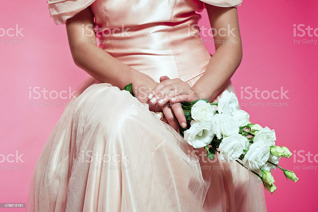 Bridesmaid with flowers royalty-free stock photo