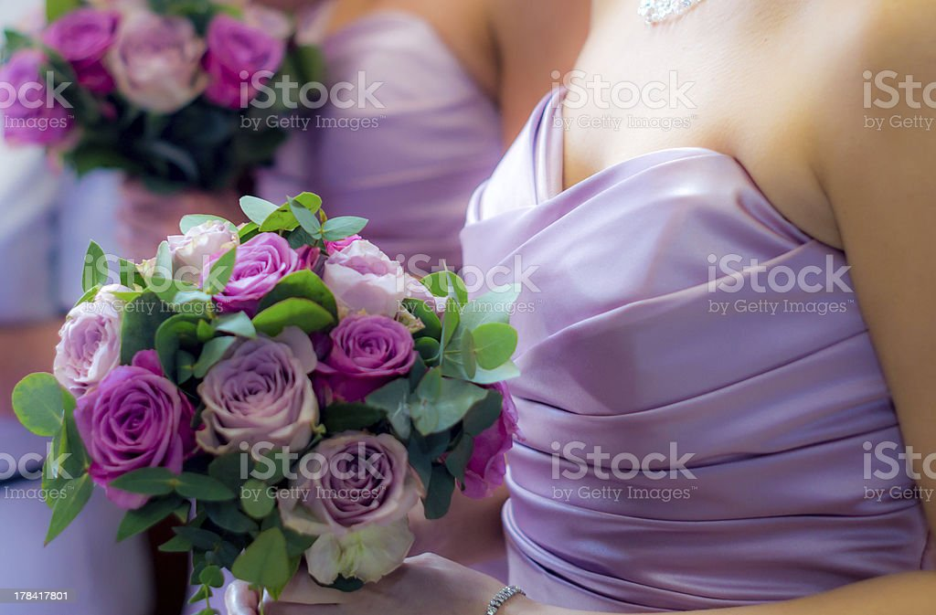 Bridesmaids and Bouquets stock photo