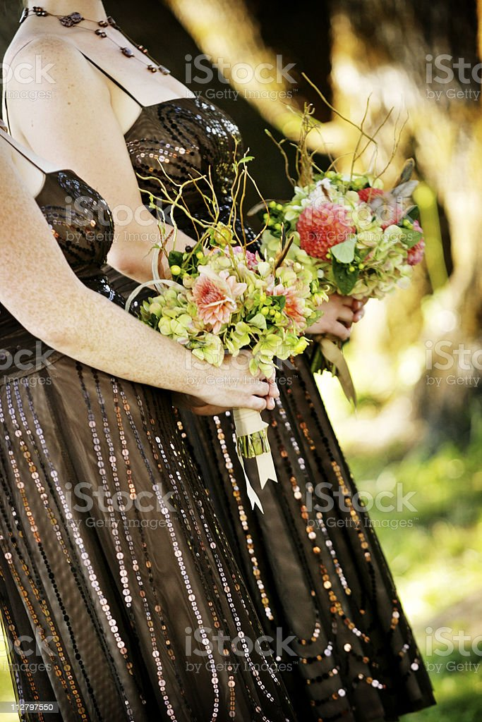 Bridesmaids with bouquets royalty-free stock photo