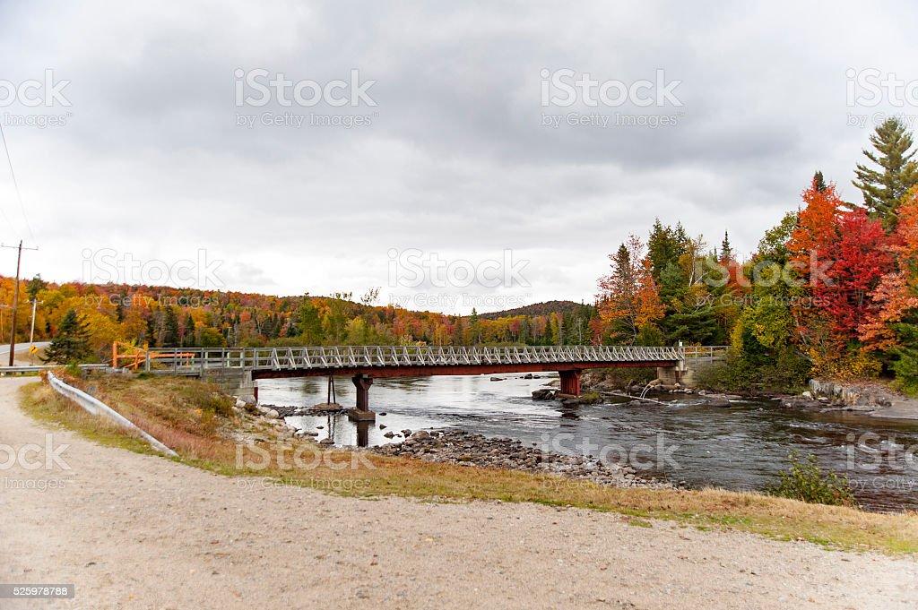 Bridge across Androscoggin River stock photo
