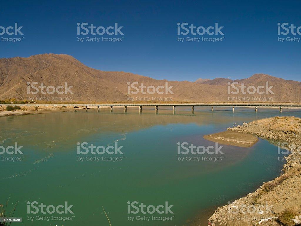 Bridge across Brahmaputra stock photo
