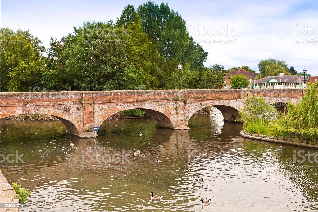 Bridge Across Canal in Historic Center of Stratford-upon-Avon, Warwickshire, England. stock photo