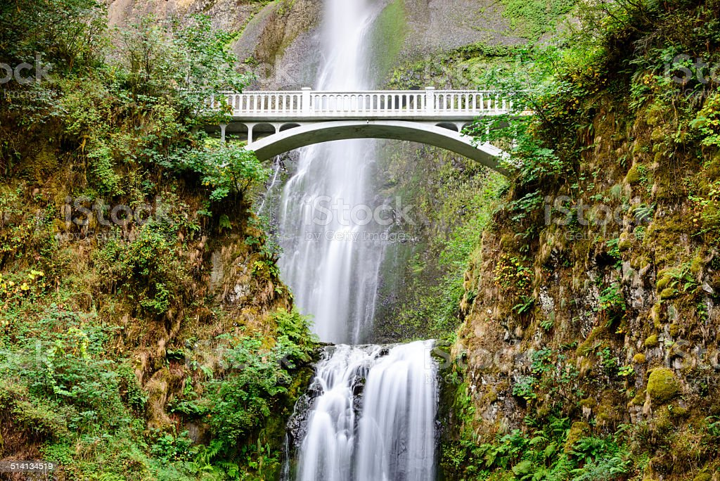 Bridge across Multnomah Falls, Columbia River Gorge, Oregon -XXXL stock photo