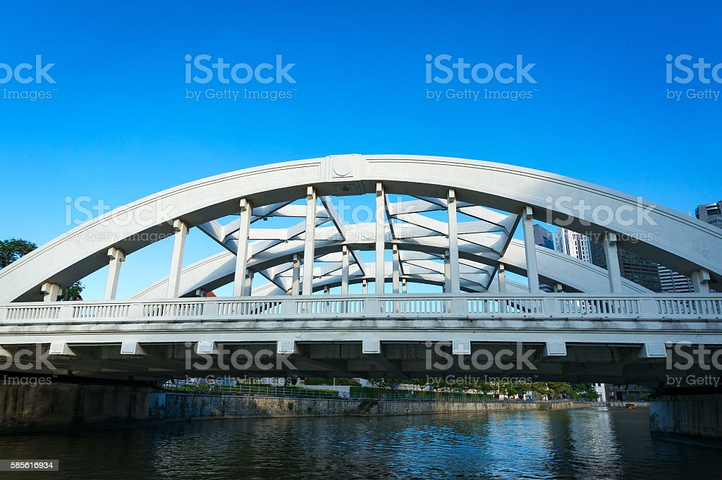 Bridge across Singapore river stock photo