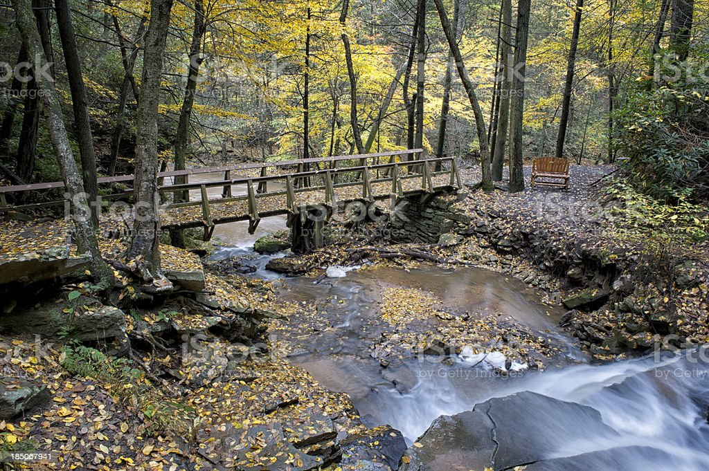Bridge Across Stream in Fall Forest, Waterfall and Yellow Leaves royalty-free stock photo