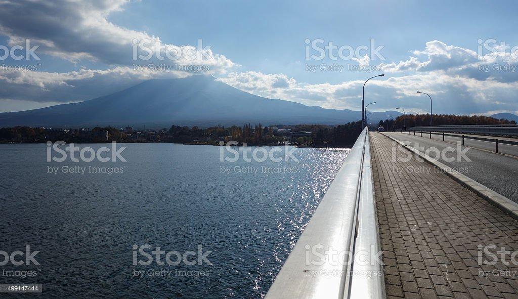Bridge Across the Kawaguchigo Lake stock photo