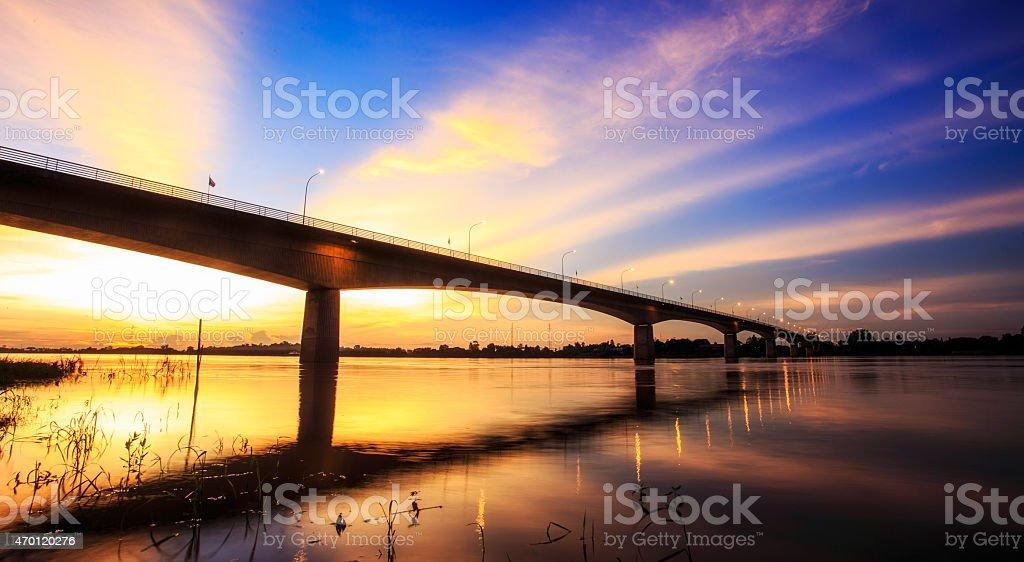 Bridge across the Mekong River stock photo