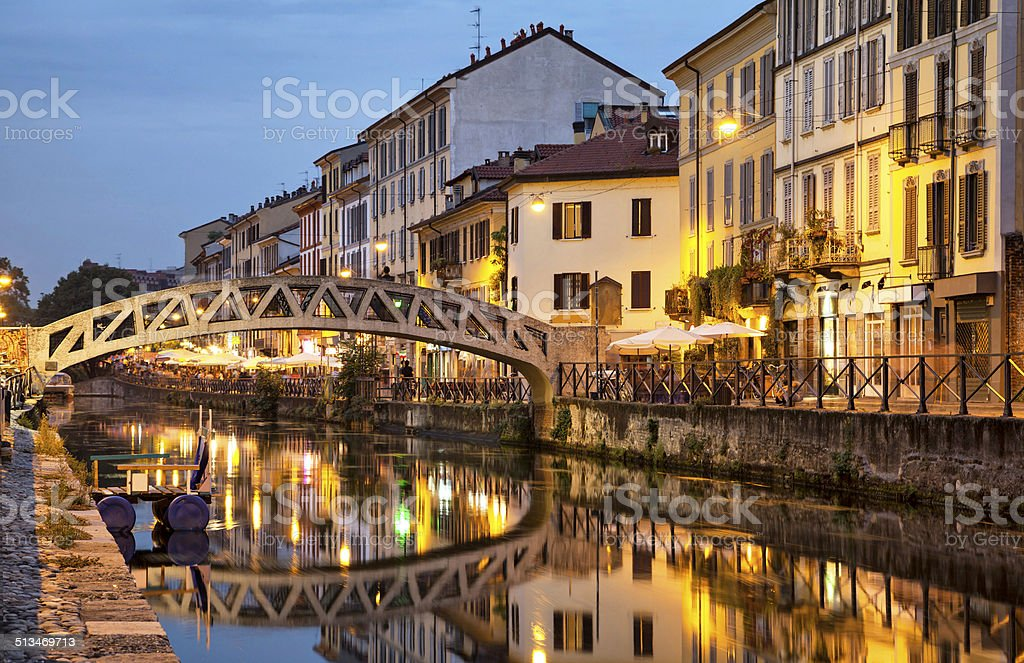 Bridge across the Naviglio Grande canal stock photo