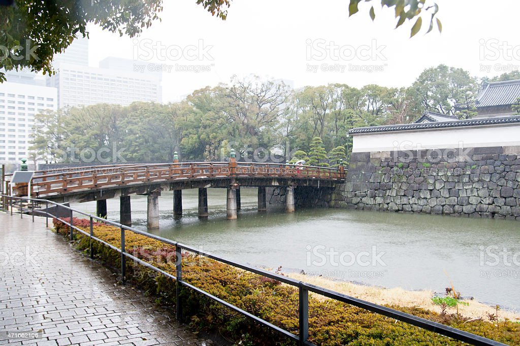 Bridge across to Imperial Palace in Tokyo, Japan stock photo