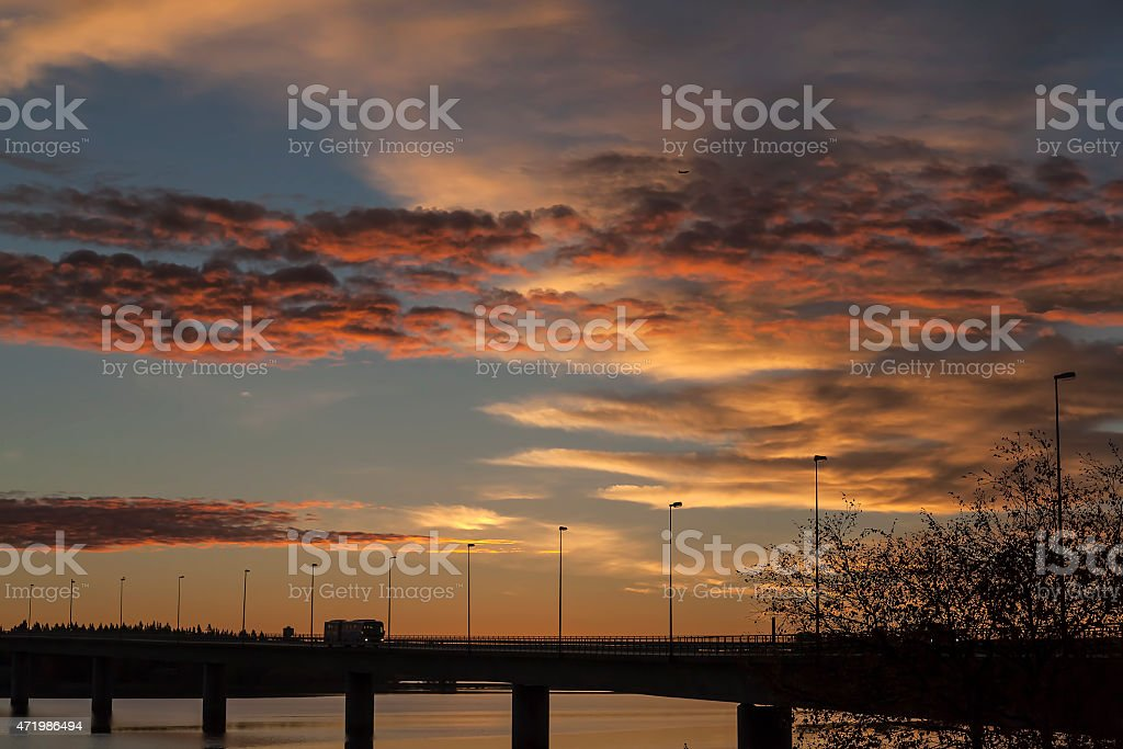 Bridge and a truck in the morning sun royalty-free stock photo