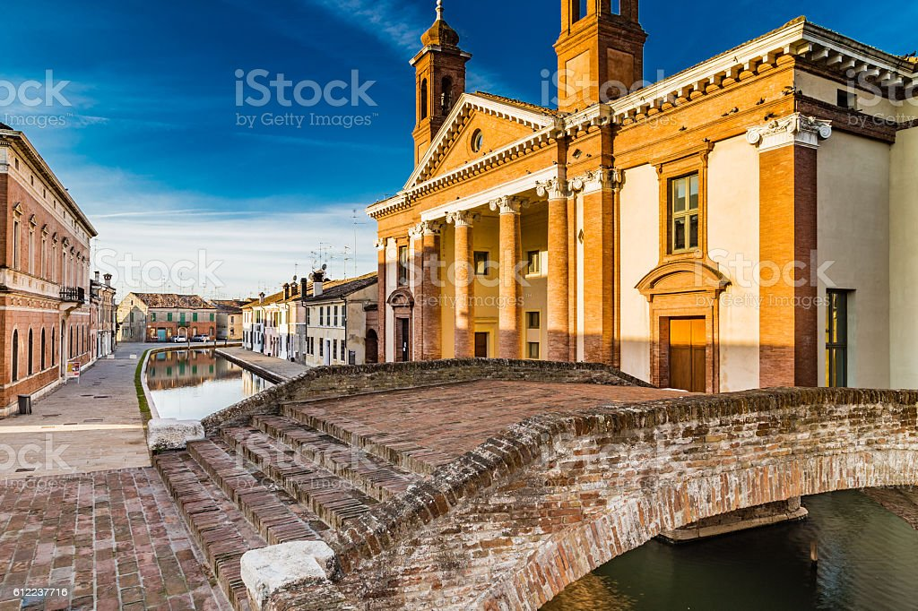 bridge and ancient hospital in Comacchio, the little Venice stock photo