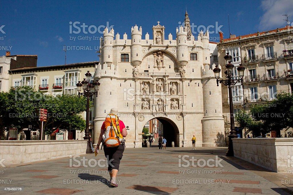 Bridge and Arch of Santa Maria, Burgos. Spain stock photo