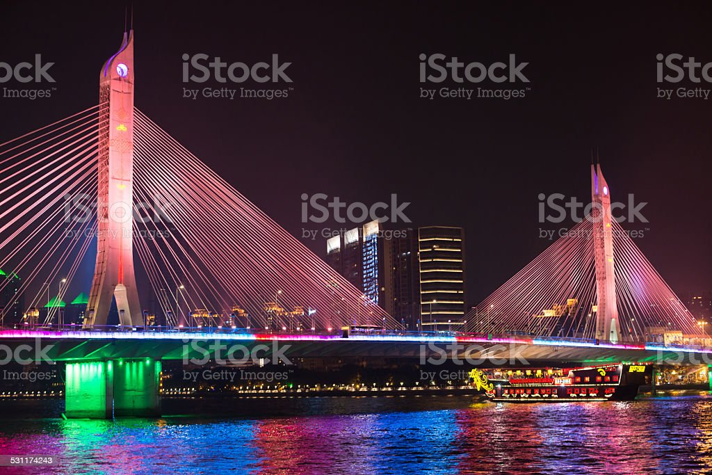 bridge and boat on pearl river stock photo
