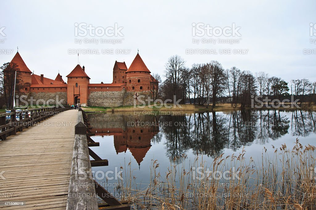 Bridge and Castle of Trakai stock photo