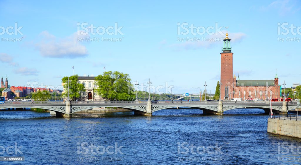 Bridge and city hall in Stockholm stock photo