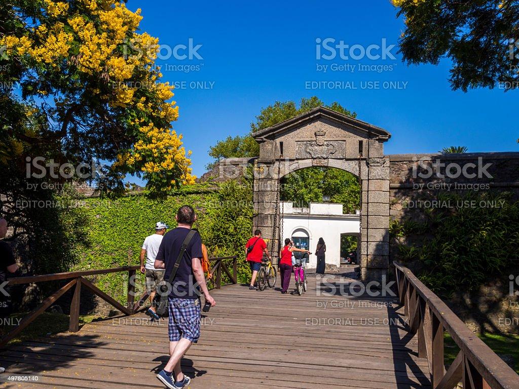 Bridge and city wall in Colonia del Sacramento, Uruguay stock photo