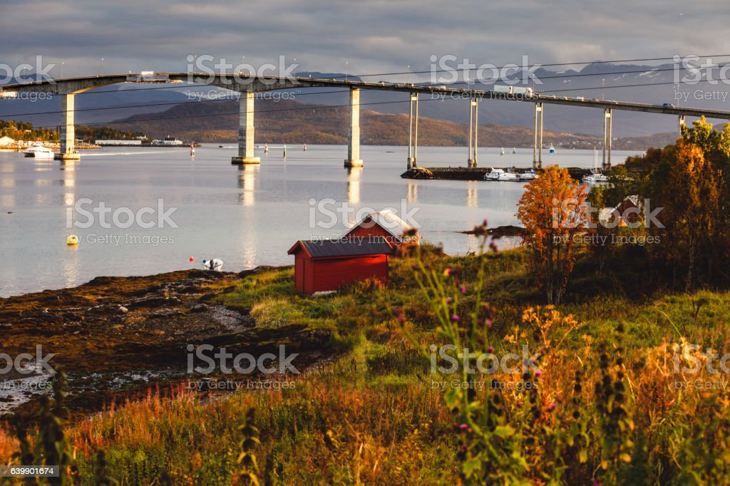 Bridge and coast in Senja stock photo