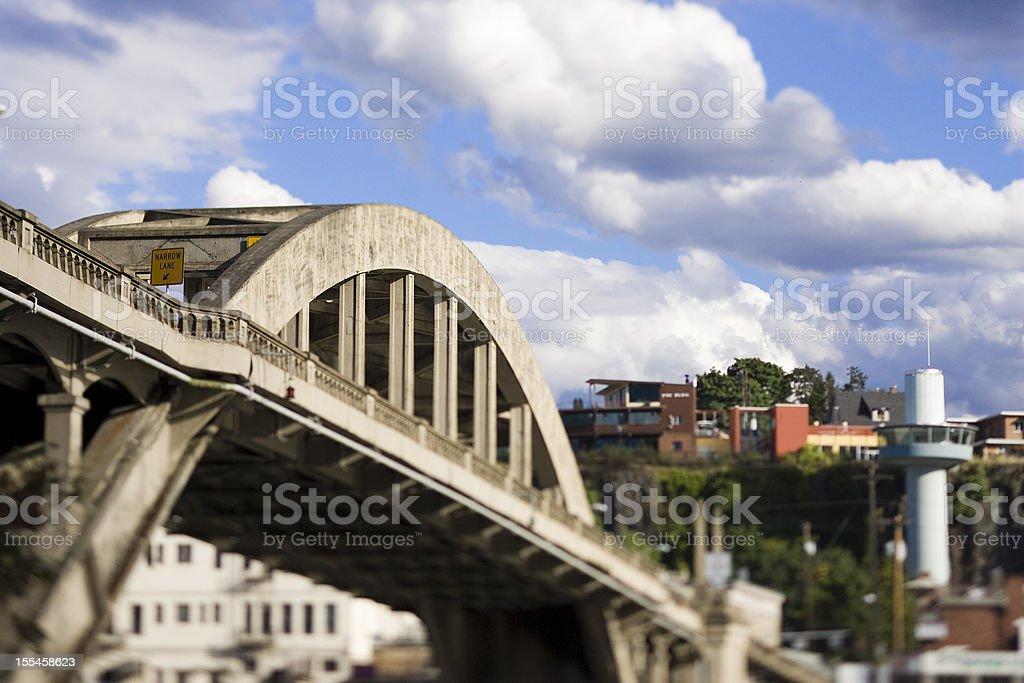 Bridge and Commercial Elevator in Oregon City stock photo