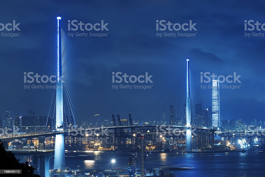 Bridge and container port royalty-free stock photo