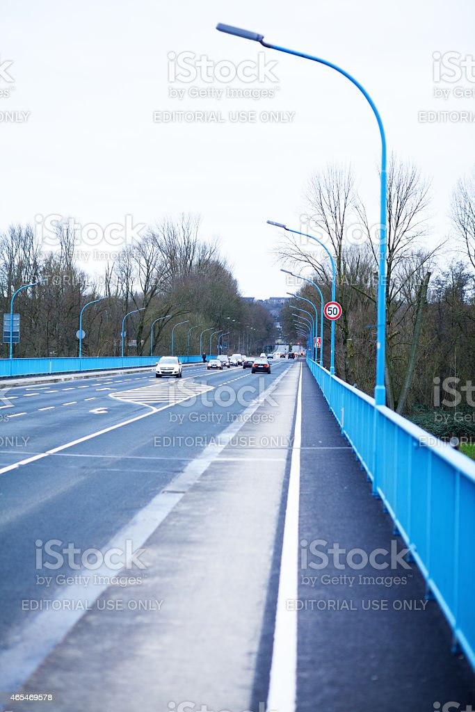 Bridge and federal road over Ruhr stock photo