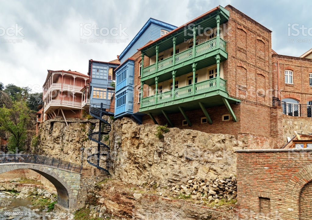 Bridge and houses in Abanotubani district in the Old Town of Tbilisi. Georgia stock photo