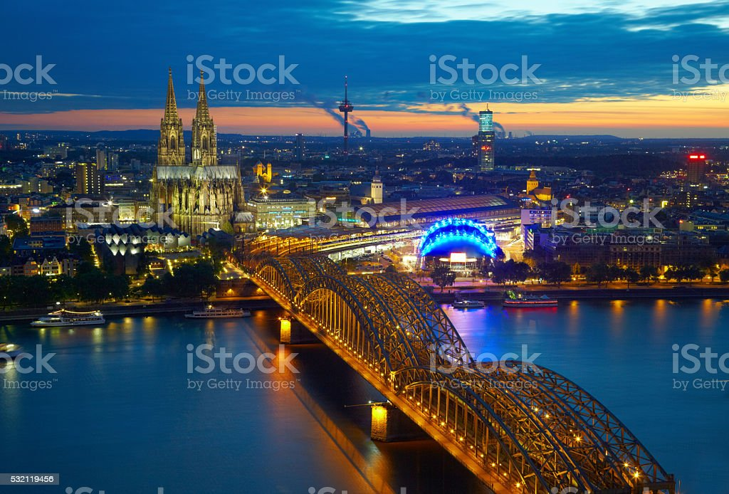 Bridge and old cathedral of Koln, Germany stock photo