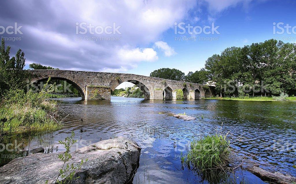 Bridge and river in El barco de Avila stock photo