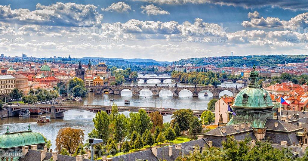 Bridge and rooftops of Prague stock photo