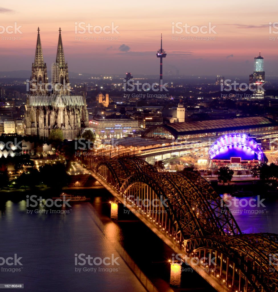 Bridge and the Dom of Cologne royalty-free stock photo