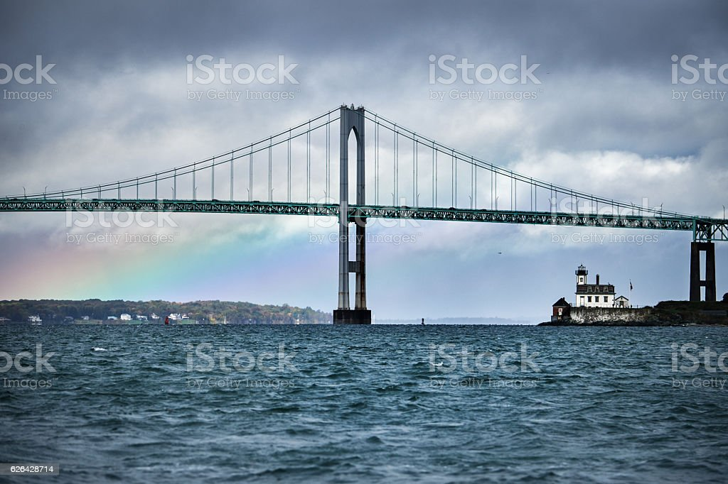 Bridge and the rainbow stock photo