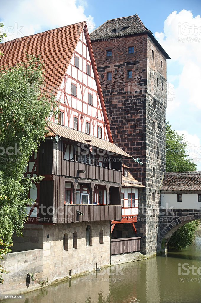 bridge and tower in Nuremberg royalty-free stock photo