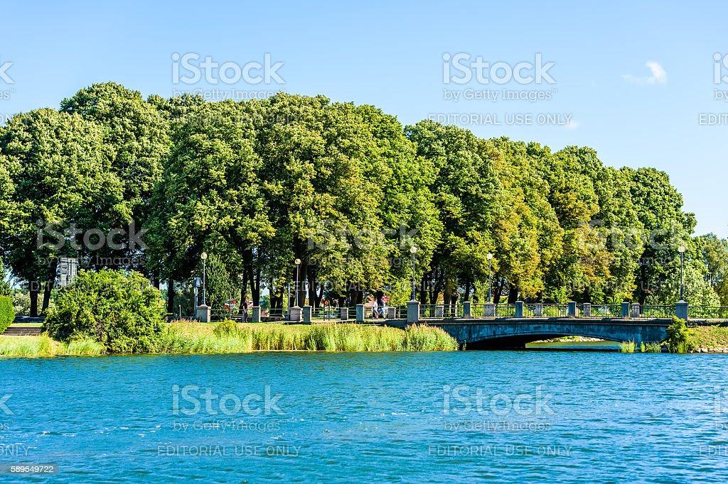 Bridge and trees stock photo