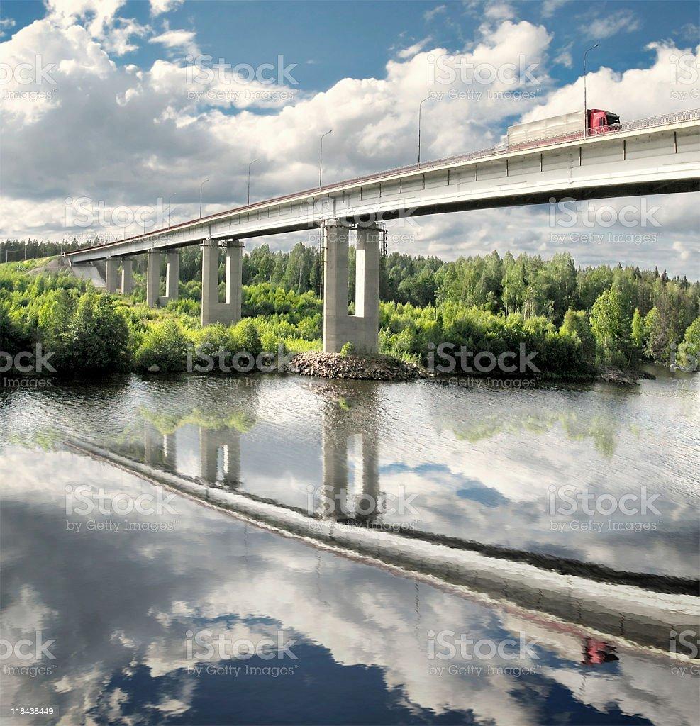 bridge and truck stock photo