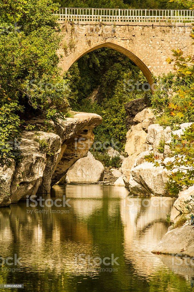 bridge and valley stock photo