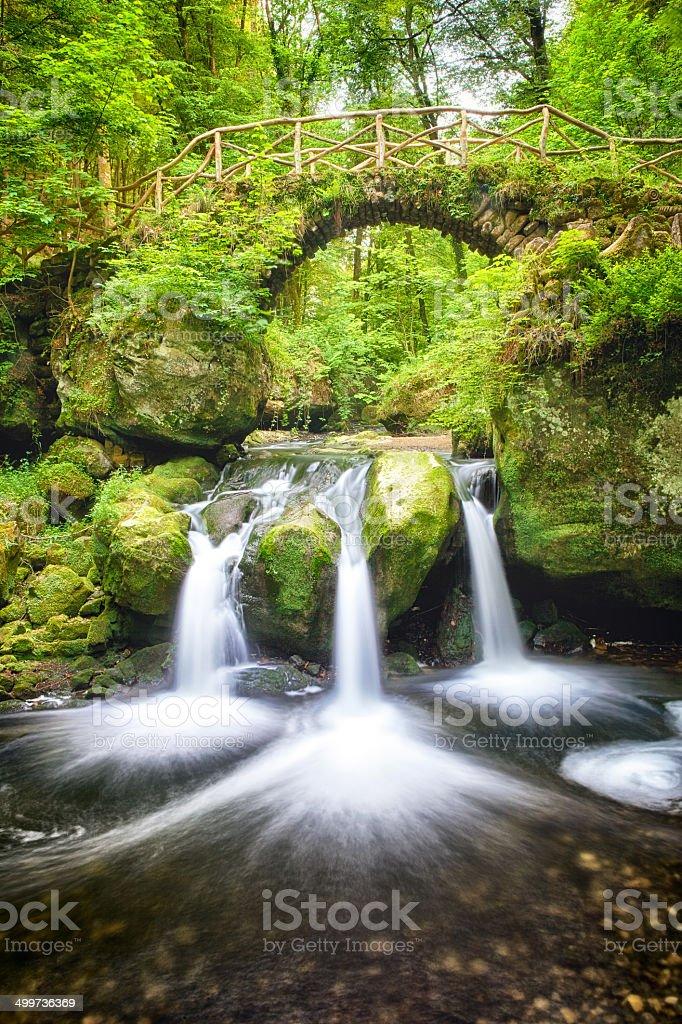 Bridge and waterfalls royalty-free stock photo