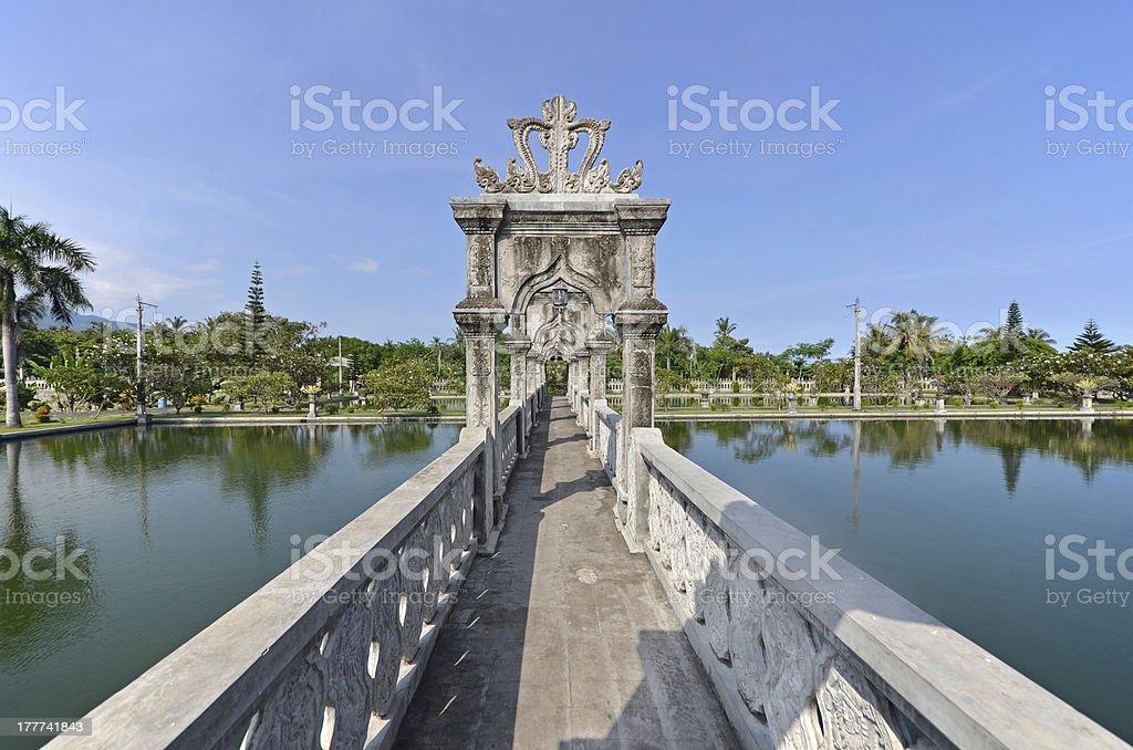 Bridge Arch Walkway in Taman Ujung Water Palace stock photo