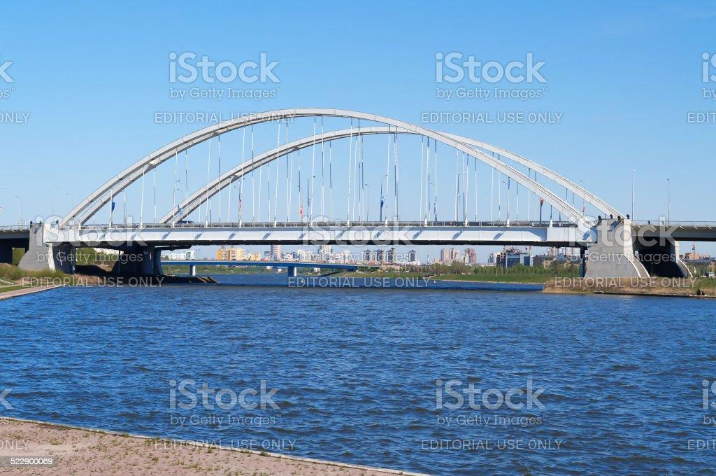 Bridge Arkhar over the Ishim River in Astana stock photo
