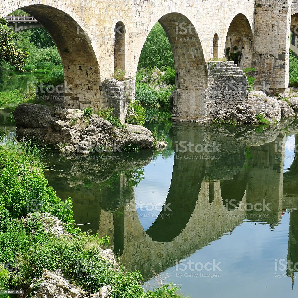 Bridge at Besalu stock photo