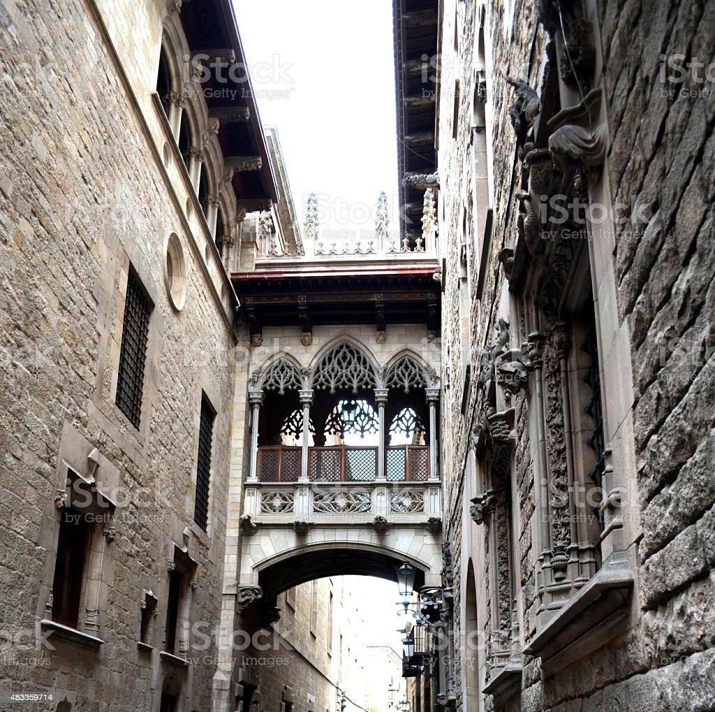 Bridge at Carrer del Bisbe in Barri Gotic Barcelona stock photo