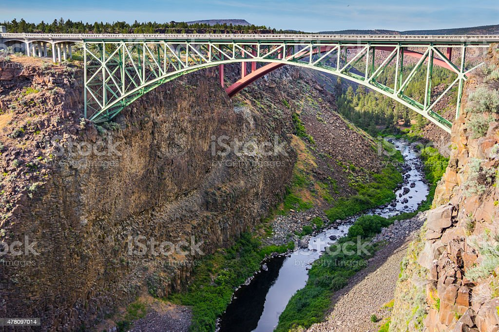 Bridge at Crooked River, Bend, Oregon stock photo