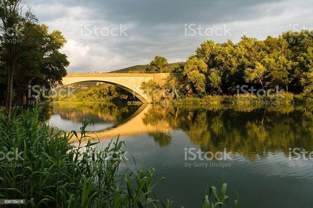 Bridge at Greoux les Bains stock photo