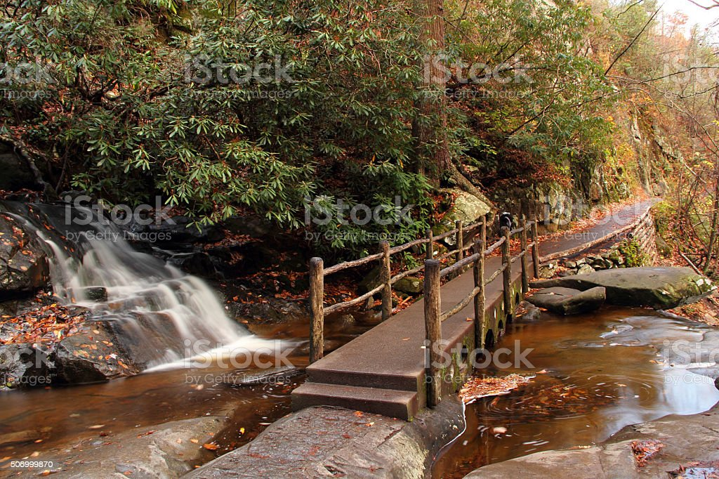 Bridge at Laurel Falls stock photo