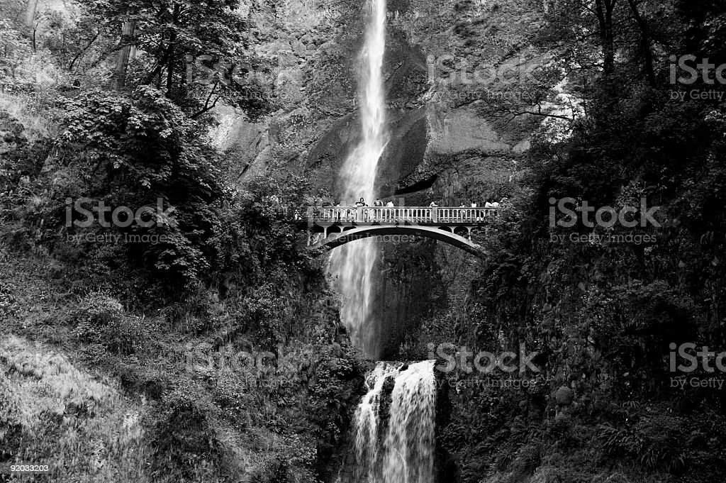 Bridge at Multnomah Falls - B&W royalty-free stock photo