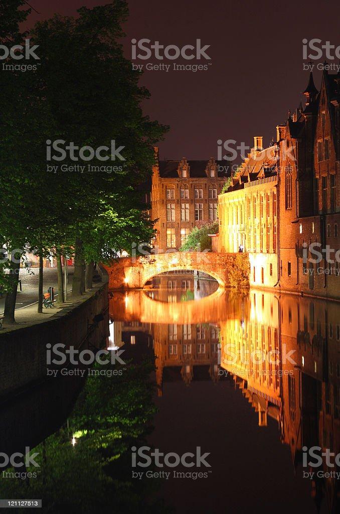 bridge at night Bruges royalty-free stock photo