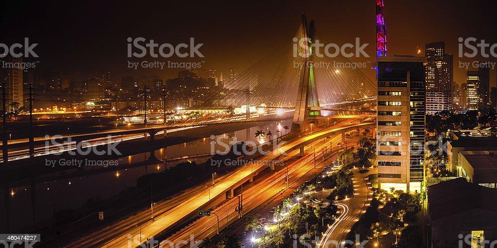 Bridge at night in Sao Paulo stock photo