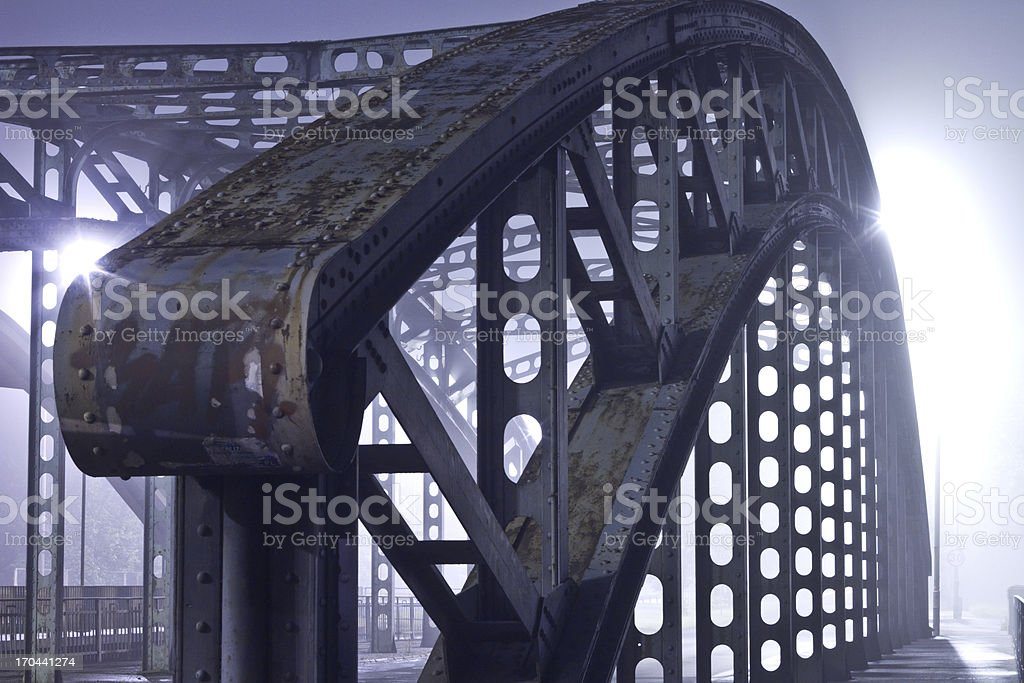 Bridge at night in the fog royalty-free stock photo